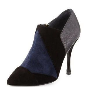 Tory Burch Black Navy Suede Ankle Bootie Pump 7.5